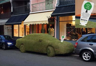 sony green car ambient ad